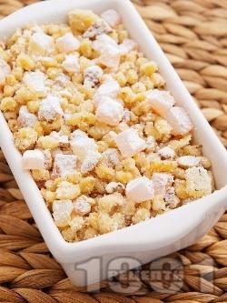 Десерт от варено жито за помен с бисквити, орехи и локум - снимка на рецептата